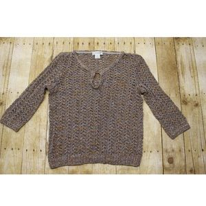 Womens M St John Sport Knit Blouse top long sleeve
